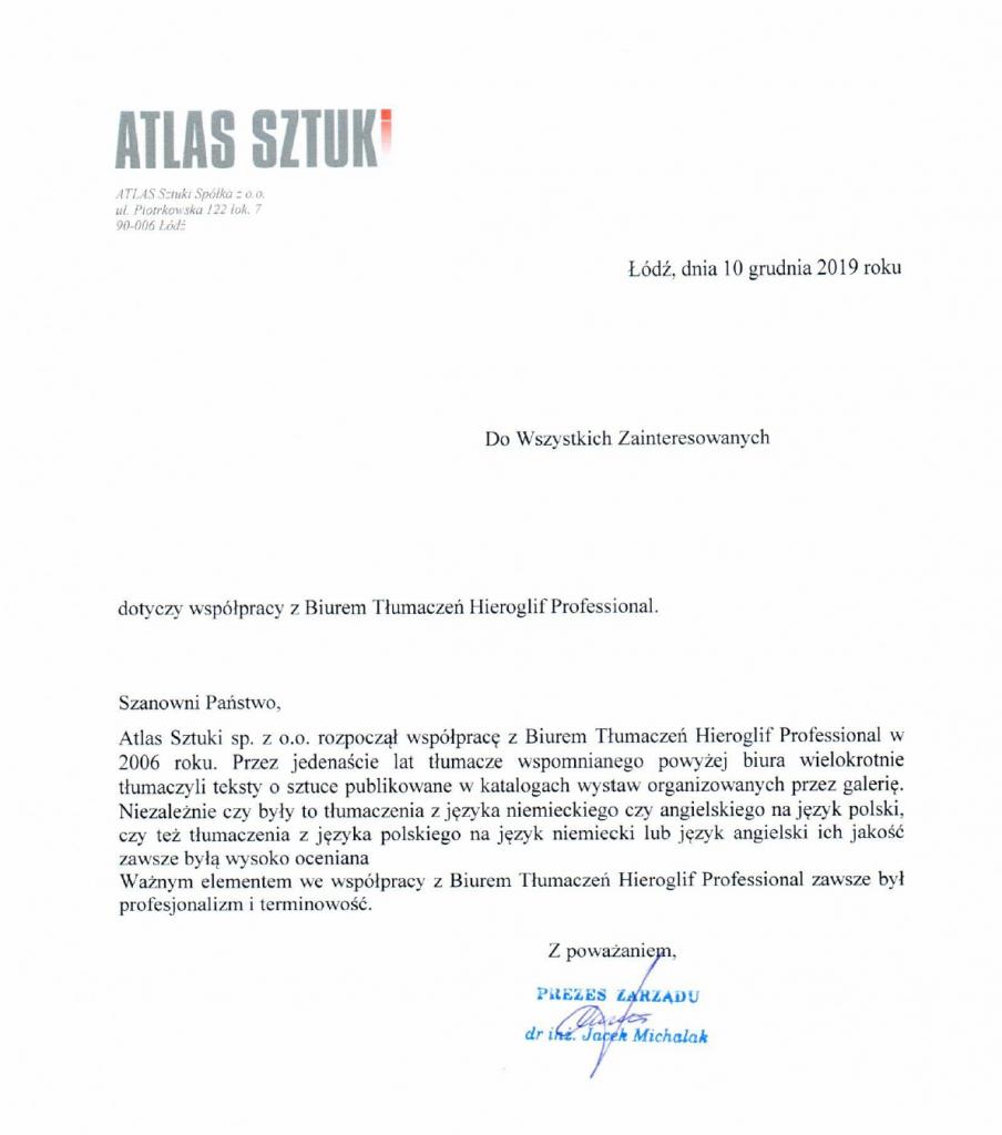 Referencje Atlas sztuka